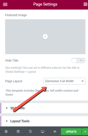 Page Settings problem with Elementor's Full Width Toggle Image